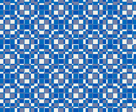 Textile pattern design or wallpaper. With square or rectangular shapes superimposed in blue and white tones