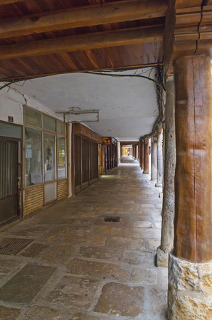 Characteristic arcades of the town of Medina de Rioseco in the Province of Valladolid in Castilla y Leon 에디토리얼