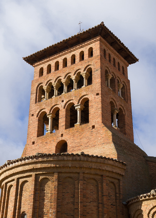 Tower of the Church of San Tirso in Sahagun of mudejar style brick architecture. Spain 스톡 콘텐츠