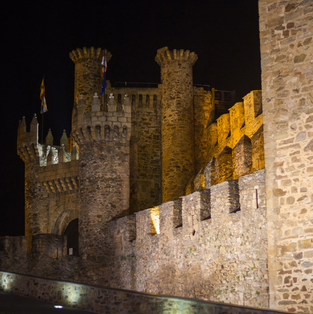 Entrance to the Templar castle with night lighting. Ponferrada. Leon.Spain