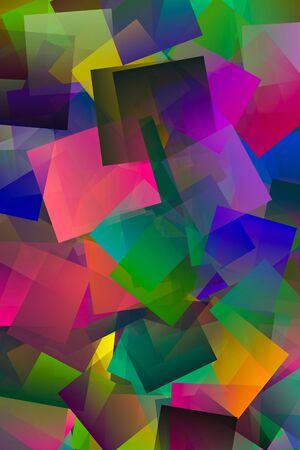 Design of translucent colored squares in layers superimposed and placed irregularly