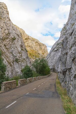 Road with retaining walls on the edge, in narrow gorge or gorge between stone mountains and parallel to the river with green vegetation