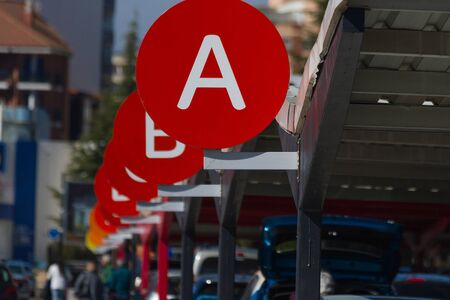 Car parking sorted by alphabet letters Imagens