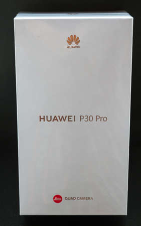 White Huawei P30 pro Smartphone case with Leica lens isolated on black background