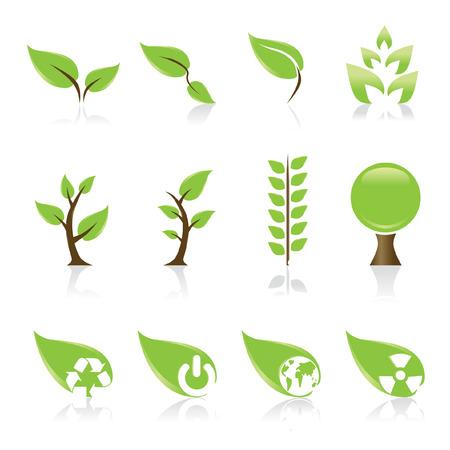 silueta hoja: Conjunto de 12 iconos verdes del medio ambiente por su dise�o idea  Vectores
