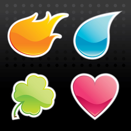 Glossy Icon (Fire, Water, Leaf, Heart) Vector