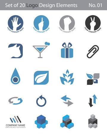Set of 20 Logo Elements Stock Vector - 3498466