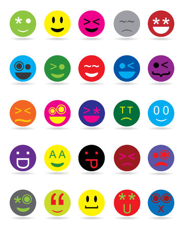 New style smile face icons Vector