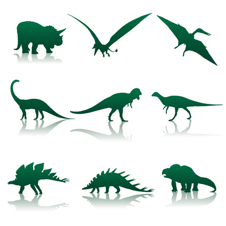 Vector illustration. Neuf silhouettes de dinosaures. Illustration