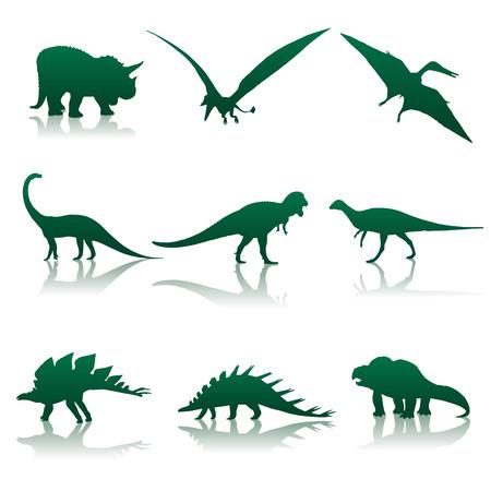 Vector illustration. Nine silhouettes of dinosaurs. Illustration