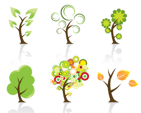 Set of 6 Abstract Swirly Trees Vector
