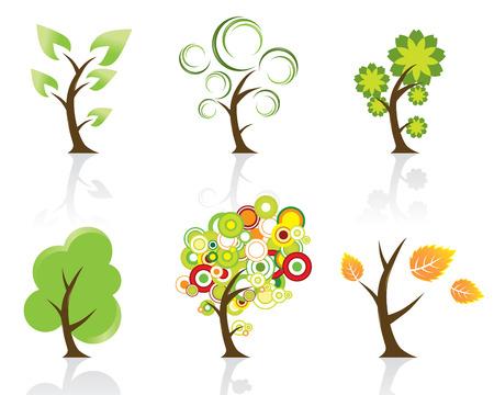 Set of 6 Abstract Swirly Trees Illustration