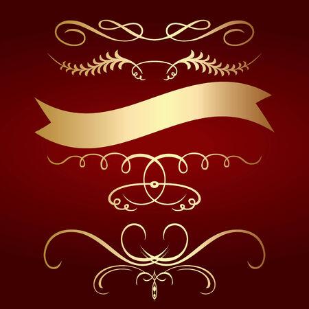 volute: Cornice dorata con sfondo rosso