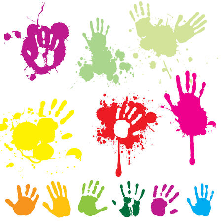 Hand print with splatters