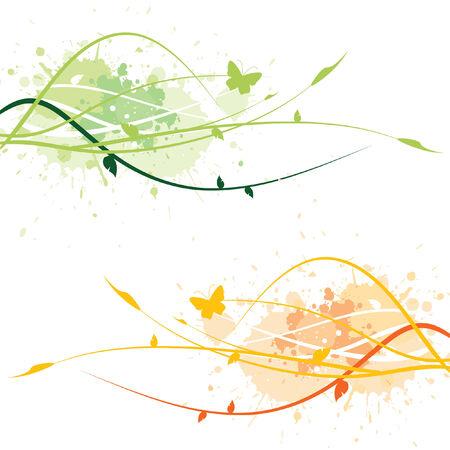 Decorative floral background (two color sets) Vector
