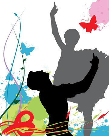 Ballet poster (whole silouette of the couple in the vector file) Illustration