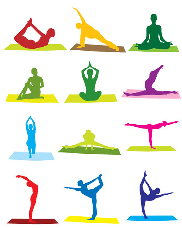 women yoga: Yoga man and woman silhouettes