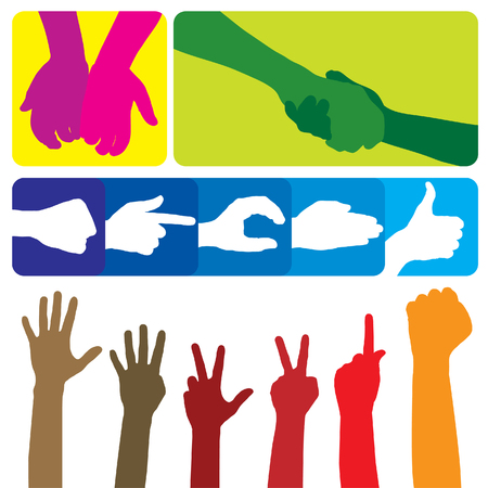 Gestures of hands. The big collection. Vector