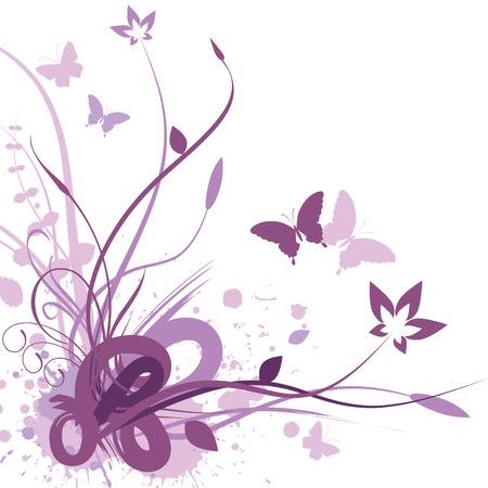 donna farfalla: Floral background, illustrazione vettoriale