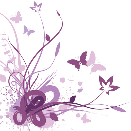 purple butterfly: Floral background, vector illustration