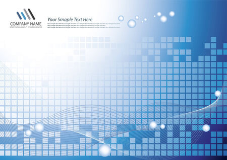 Corporate Business Template Background (Blue square and wave design) Illustration