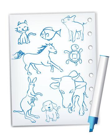 Handwriting style animal drawings Stock Vector - 4459847