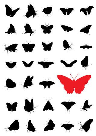 Siluetas de mariposas Ilustración de vector