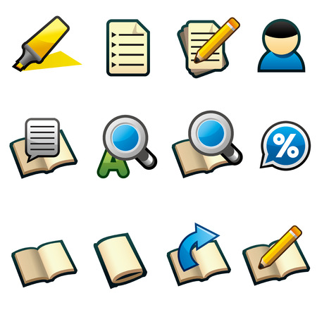 Cute and outlined style study icons