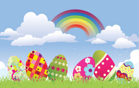 background with easter eggs Stock Vector - 8885529