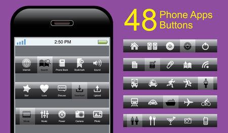 phone button: Phone Button Set Illustration