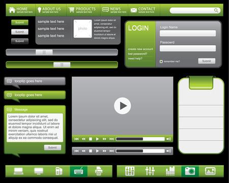 Een verzameling knoppen voor het web--groene knop