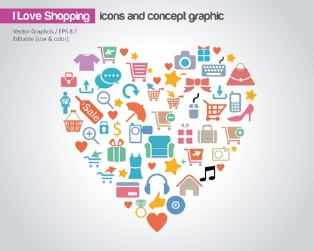 I Love Shopping Concept Design Illustration