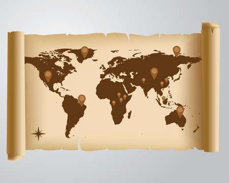 world location: Old Map  Illustration