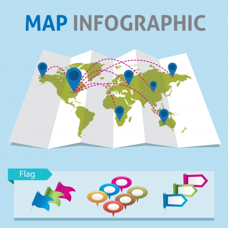 sattelite: Map Infographic Illustration