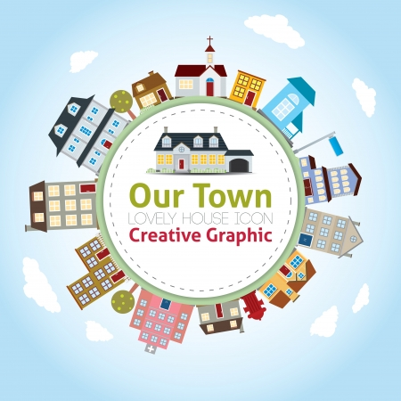 Our Town with Lovely House Icons Vector Illustration