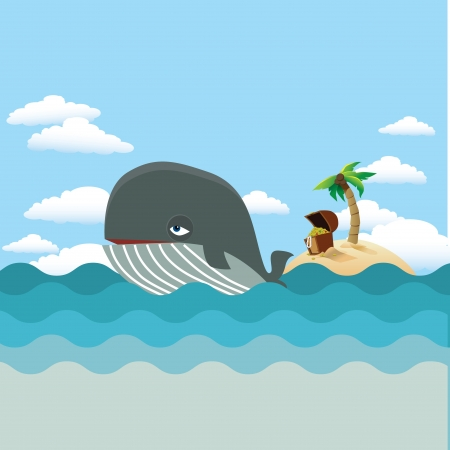 Whale with treasure island Vector
