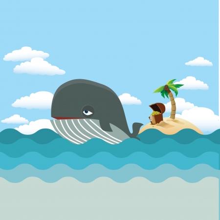 blue whale: Whale with treasure island