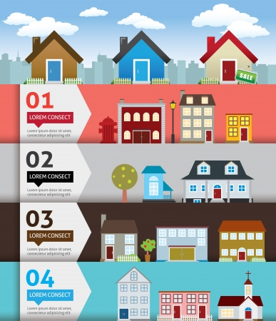 City banenr retro illustration with colorful icons Vector