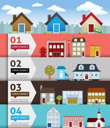 haus: Stadt banenr Retro-Illustration mit bunten Icons
