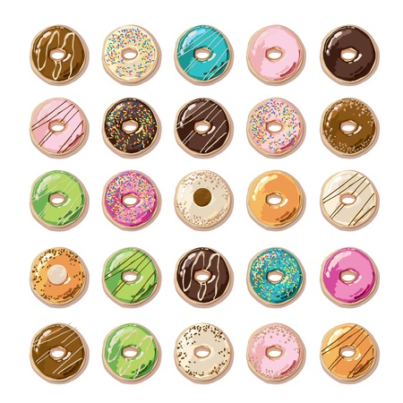 Colorful Donuts  Ilustrace