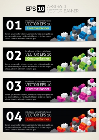 Black Banners with colorful cube Stock Vector - 20323056