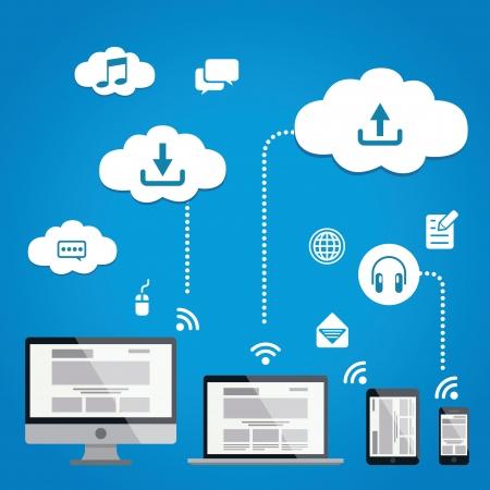 phone system: Cloud Service Infographics llustration Illustration