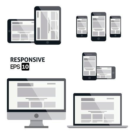 レスポンシブ Web デザイン光沢のあるアイコン  イラスト・ベクター素材
