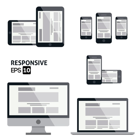 mobile website: Responsive Web Design    Glossy Icon