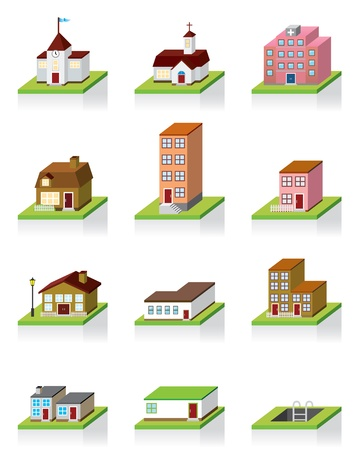 green buildings: Vector Building Icon -- 3D Illustration  Illustration