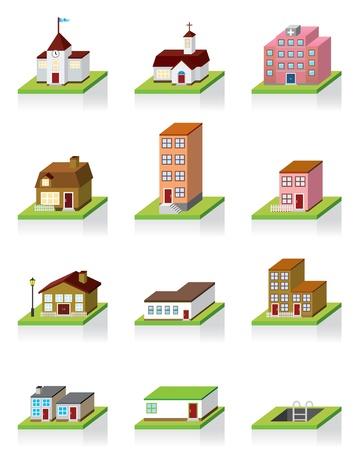 icon 3d: Vector Building Icon -- 3D Illustration  Illustration