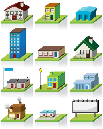 residential district: Building Icon -- 3D Illustration