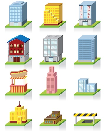 mall signs: Commercial Building Icon -- 3D Illustration  Illustration