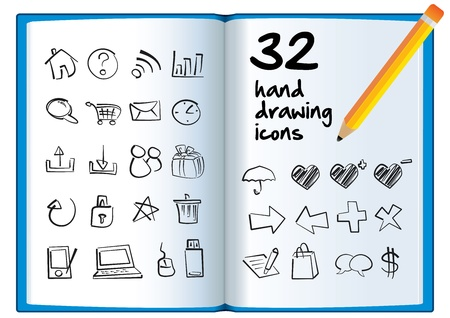 Hand drawing icon on a big book with a pencil  Vector