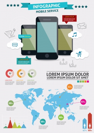 tehnology: Beautiful Smartphone Infographic  Modern infographics set and icons IT tehnology